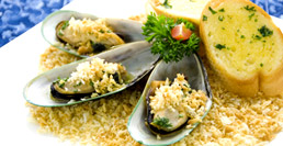 Baked New Zealand Mussels in Butter and Garlic Sauce