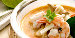 Shrimp and Coconut Sprouts in Spicy Tom Yum Soup